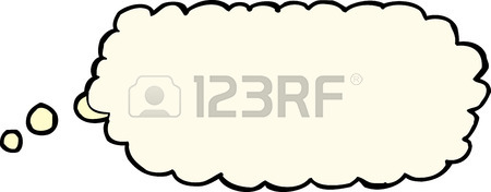 450x176 Single Cartoon Blank Thought Bubble Over Blue Background Royalty