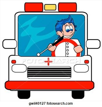 350x367 Ambulance Driver Clip Art Ambulance Driver Driving An Ambulance