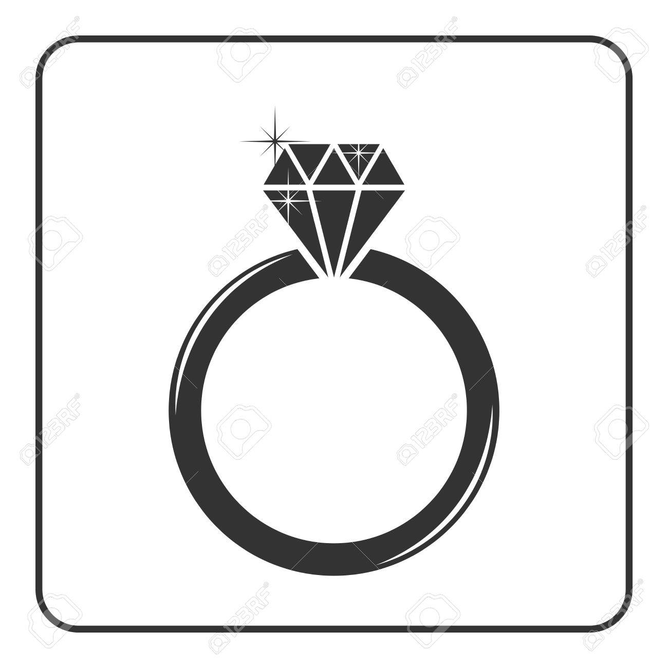 1300x1300 Diamond Engagement Ring Icon. Shiny Sparkle Crystal Sign. Black