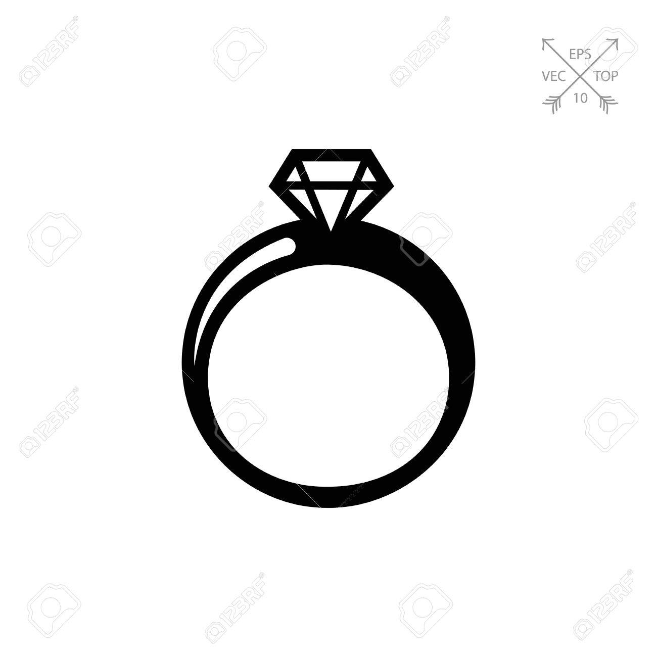 1300x1300 Vector Icon Of Shiny Diamond Ring Silhouette Royalty Free Cliparts