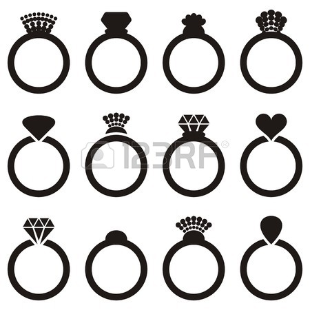 450x450 Black Vector Engagement Or Wedding Ring Icons Isolated Royalty