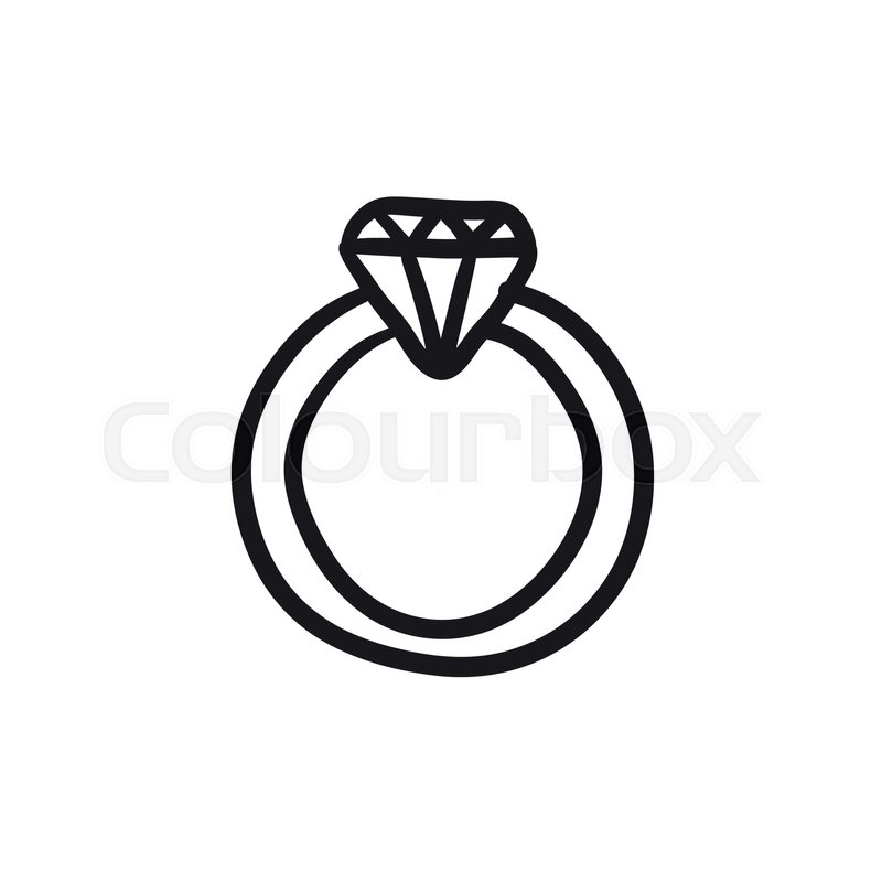 800x800 Diamond Ring Vector Sketch Icon Isolated On Background. Hand Drawn