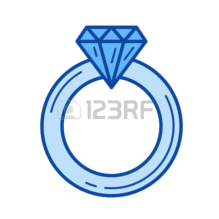 450x450 Engagement Ring Line Icon Isolated On White Background. Proposal