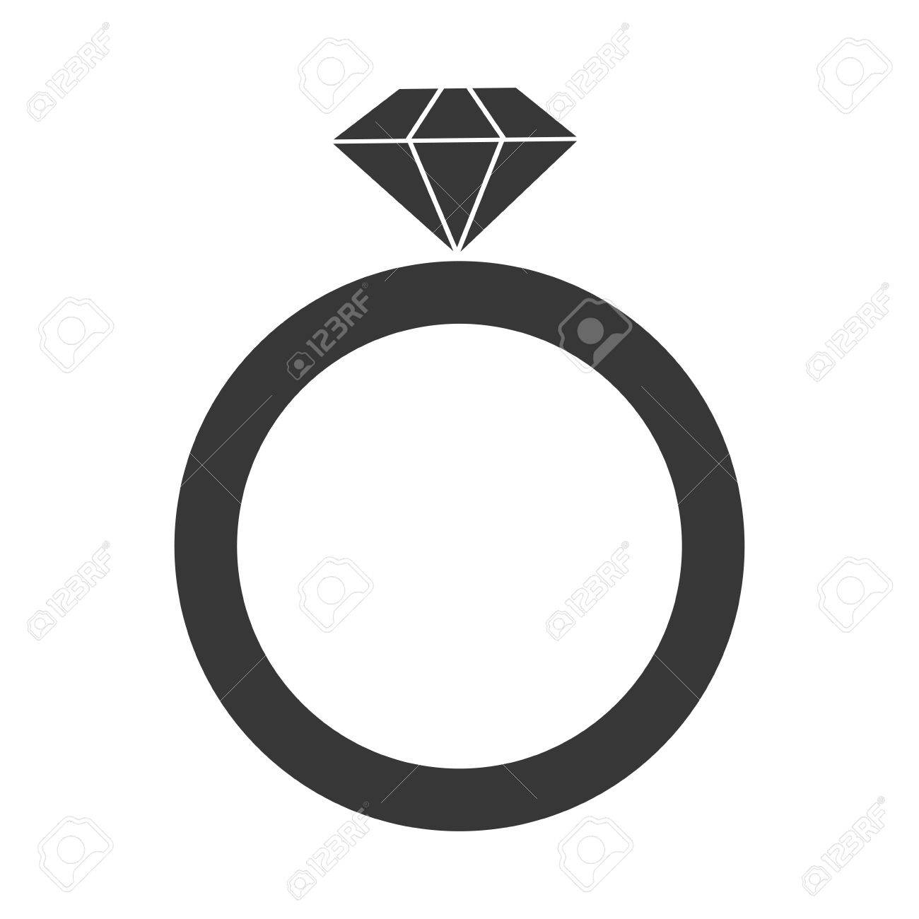 1300x1300 Grey Simple Flat Design Engagement Ring Vector Illustration