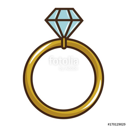 500x500 Wedding Diamond Ring Icon Vector Illustration Graphic Design