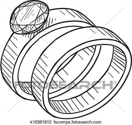 450x428 Clipart Of Wedding And Engagement Ring Sketch K10381812