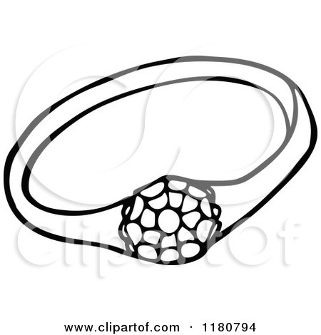 450x470 Clipart Of A Vintage Black And White Sparkling Diamond Ring
