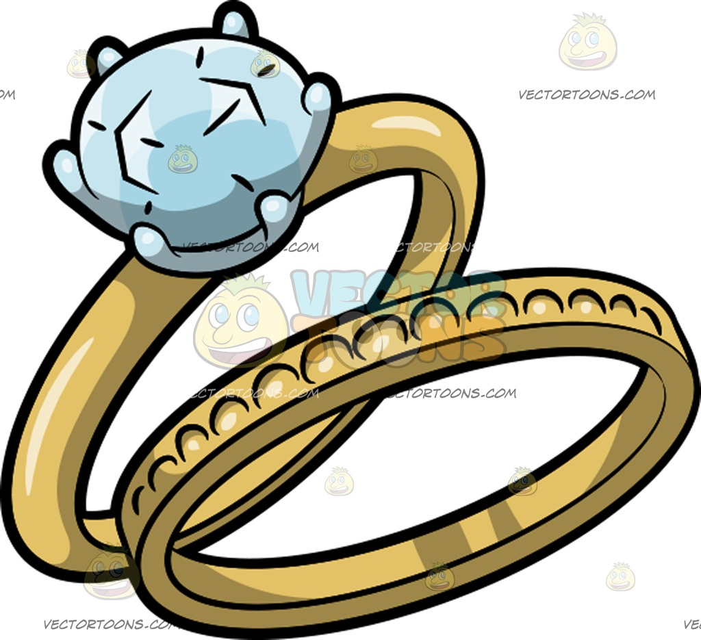 1024x935 An Engagement Ring With Matching Wedding Band Cartoon Clipart