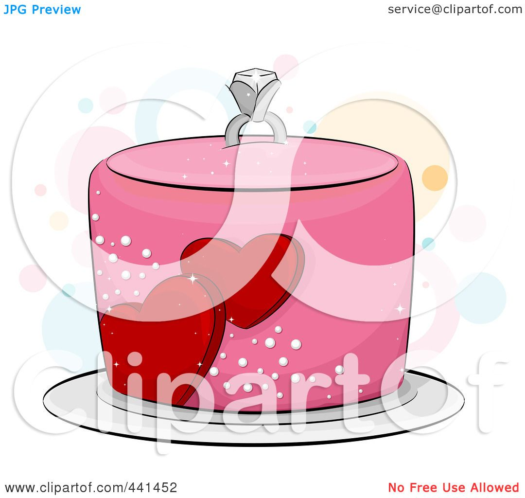 1080x1024 Royalty Free (Rf) Clip Art Illustration Of A Pink Engagement Cake