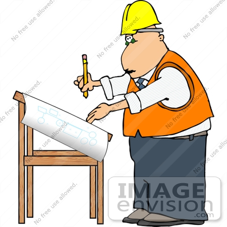 450x450 Project Engineer Architect Man Working On Blueprints Clipart