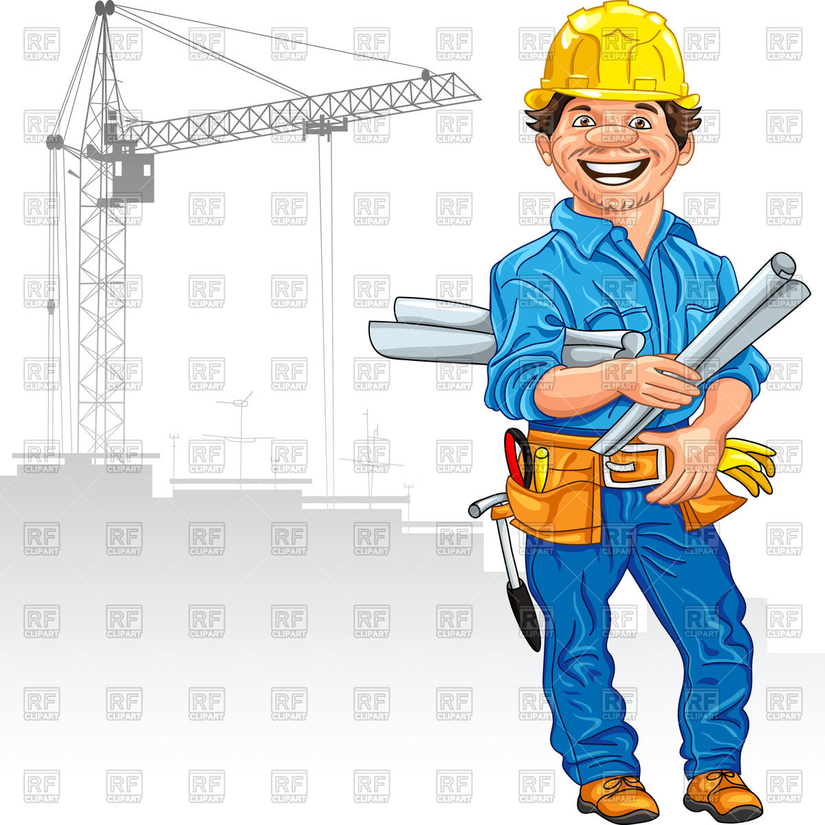 1200x1200 Cheerful Engineer (Builder) In The Yellow Helmet With The Drawing