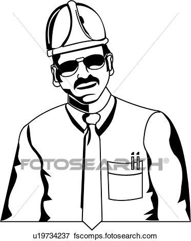 373x470 Clip Art Of Engineer U19734237