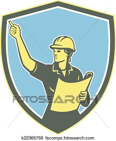 386x470 Clip Art Of Female Construction Worker Engineer Shield Retro