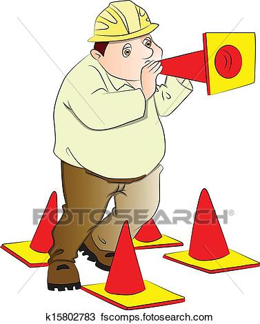 377x470 Clipart Of Vector Of Engineer Blowing Construction Cone. K15802783