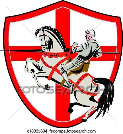 432x470 Clipart Of English Knight Rider Horse England Flag Retro K18335694