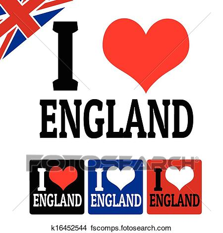 450x470 Clipart Of I Love England Sign And Labels K16452544