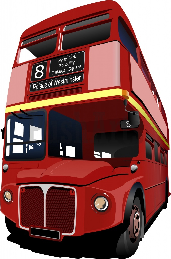 679x1024 England Double Decker Bus Clipart