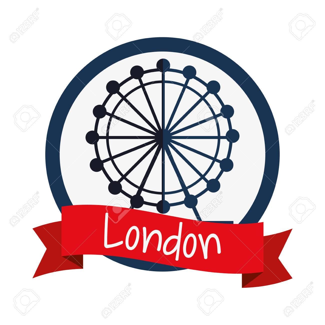 1300x1300 Eye Wheel Icon. London England Landmark And Tourism Theme