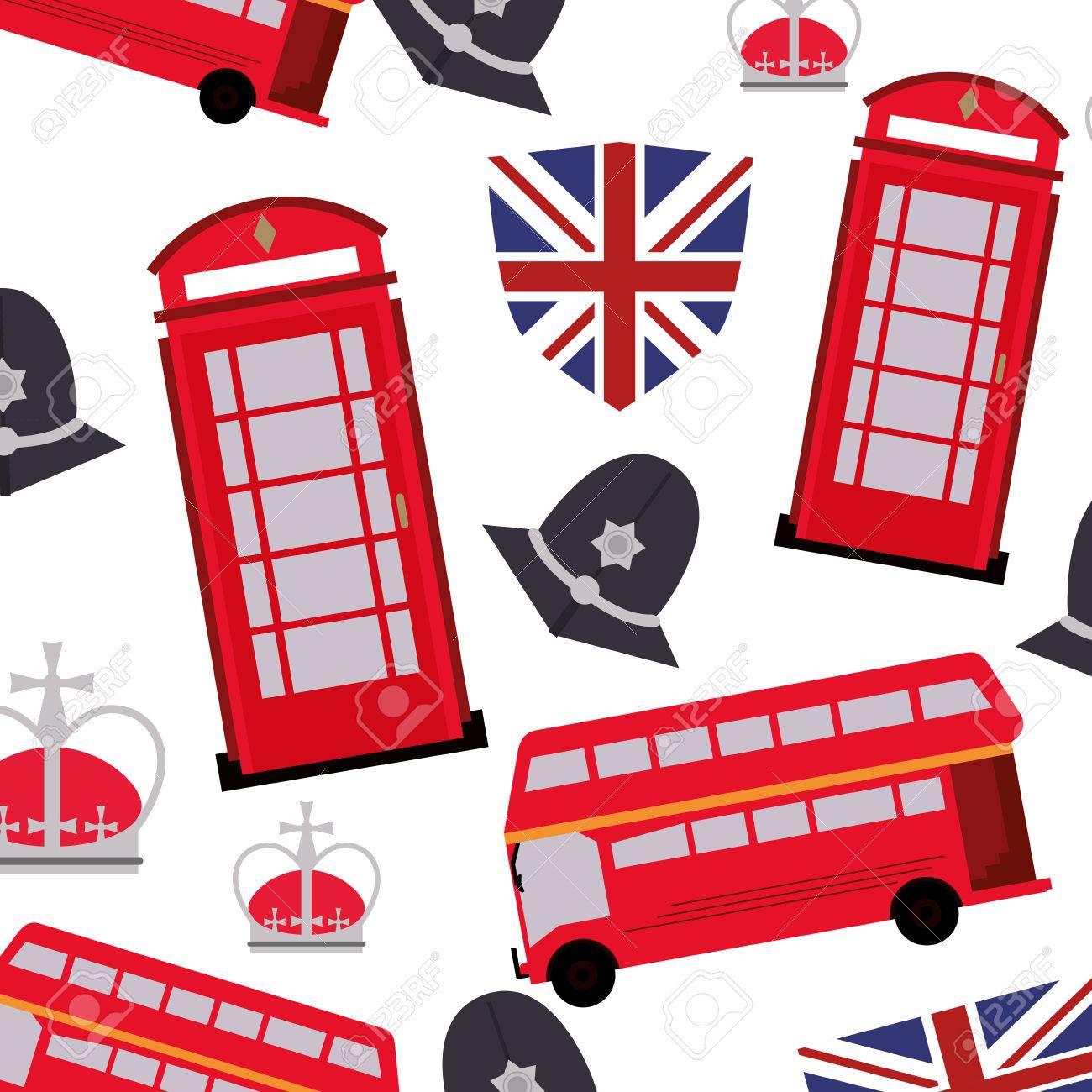 1300x1300 Flat Design England Pattern Background Icon Vector Illustration