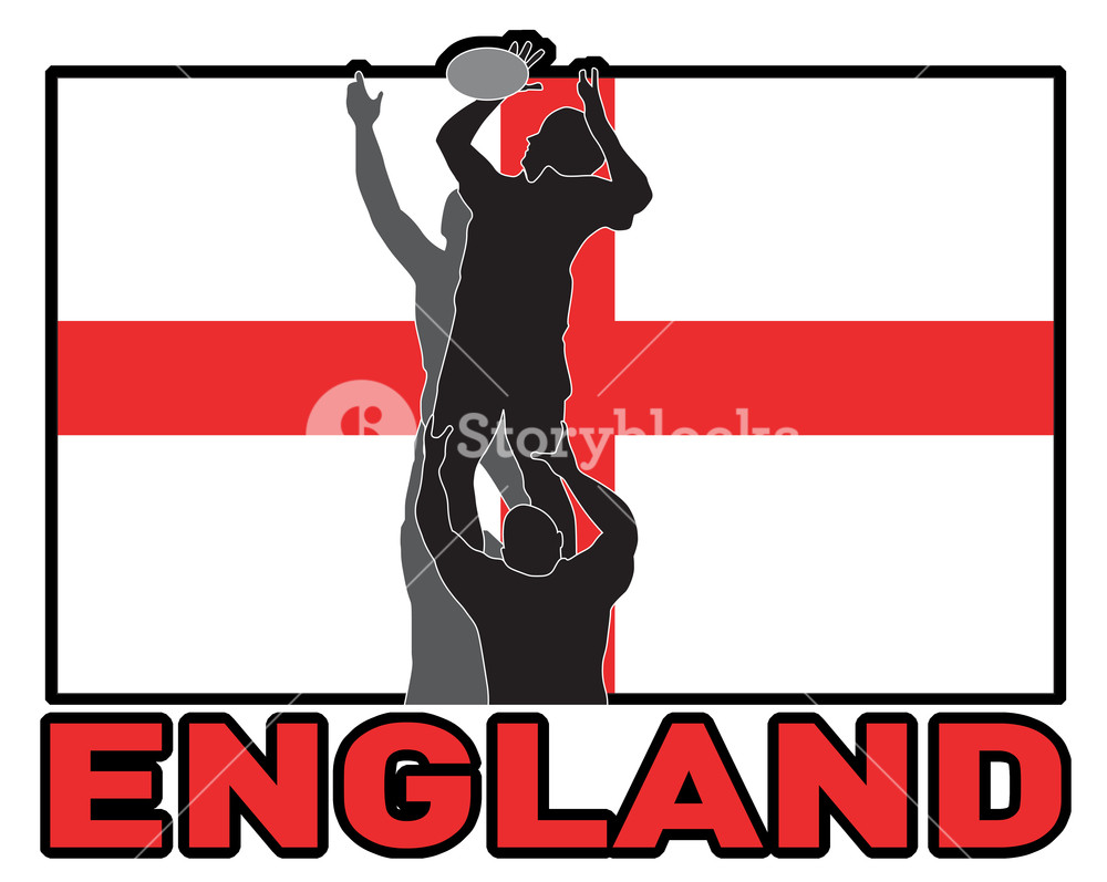 1000x797 Rugby Lineout Throw Ball England Flag Royalty Free Stock Image