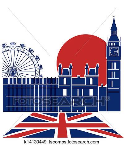 401x470 Clip Art Of London Landmark.vector Background With England Flag