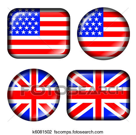 450x446 Clip Art Of Usa And Uk Flag Button K6081502