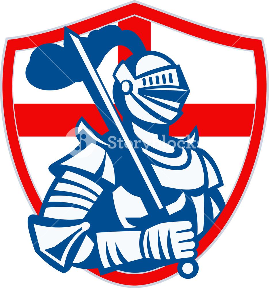 935x1000 English Knight Hold Sword England Shield Flag Retro Royalty Free