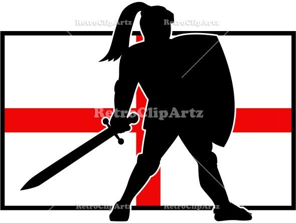 590x445 English Knight Shield Sword England Flag Retro Retroclipartz