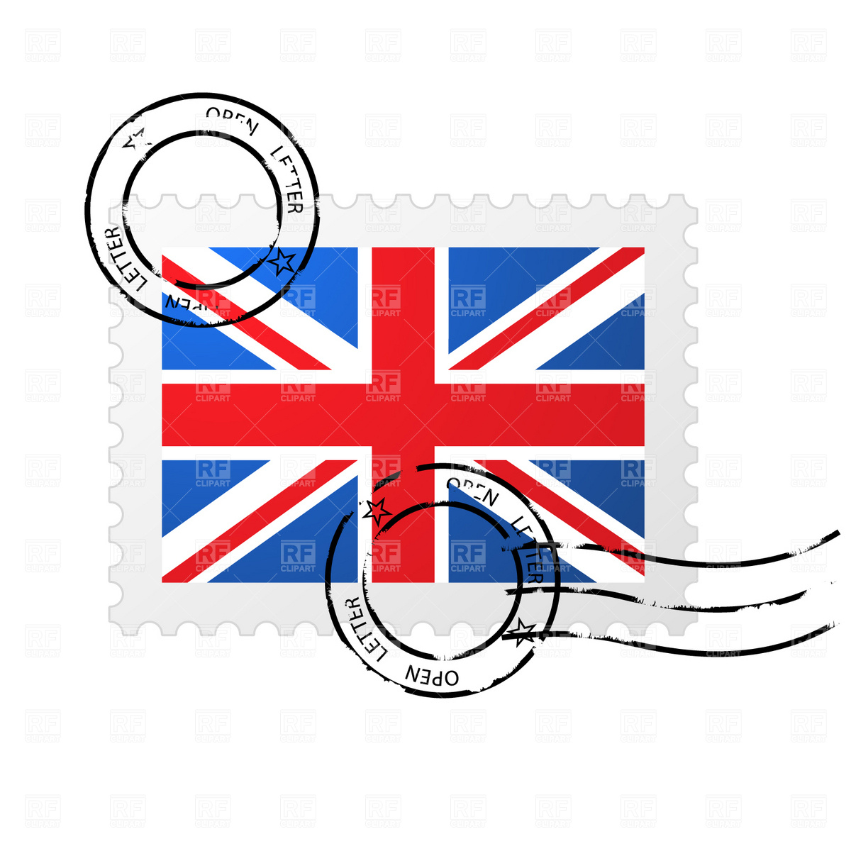 1200x1200 Postmark With Great Britain Flag And Postage Stamp Royalty Free