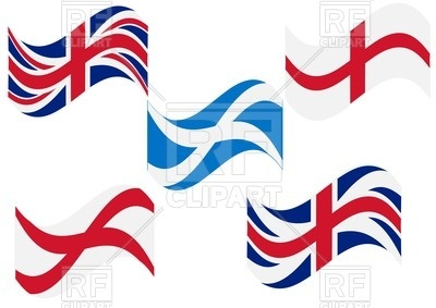400x283 Set Of British, England And Scotland Flags Royalty Free Vector