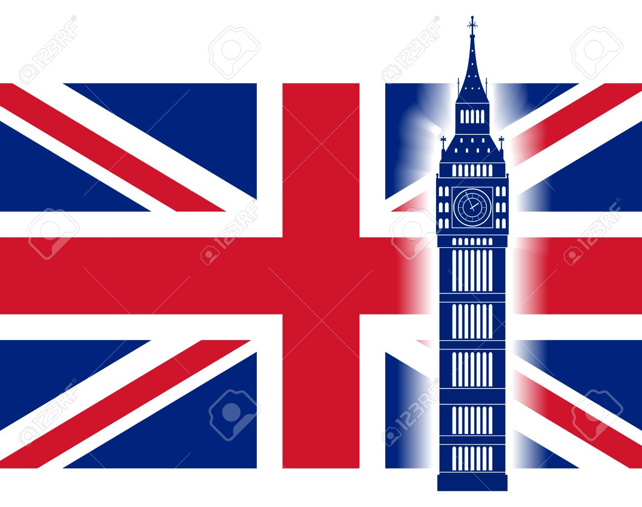 1300x1027 Big Ben On Background Of Great Britain Flag. British Union Jack