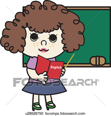 450x468 Clipart Of Blackboard, Holding, English Teacher, Book, Pointing