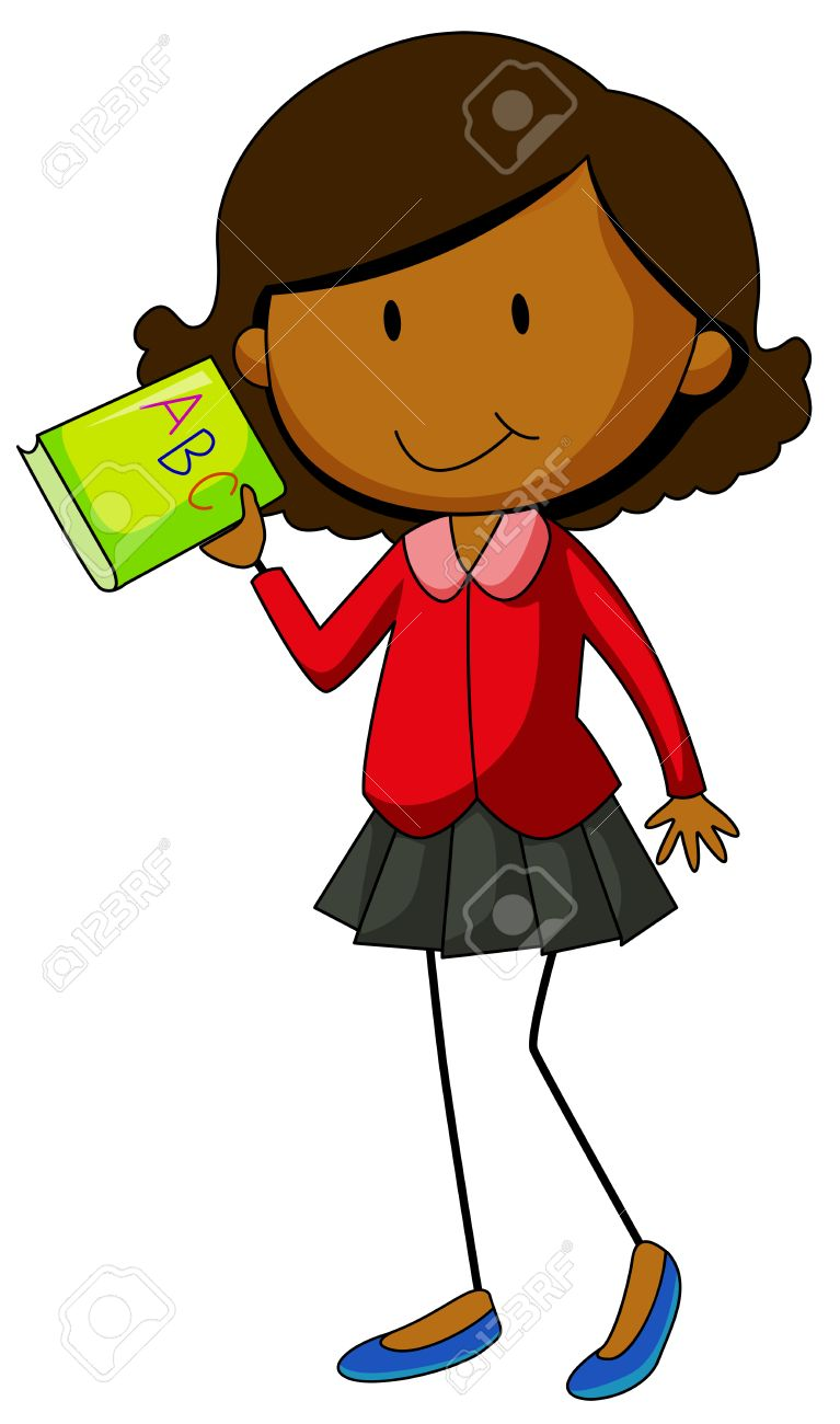 767x1300 Happy Girl Holding An English Book Royalty Free Cliparts, Vectors