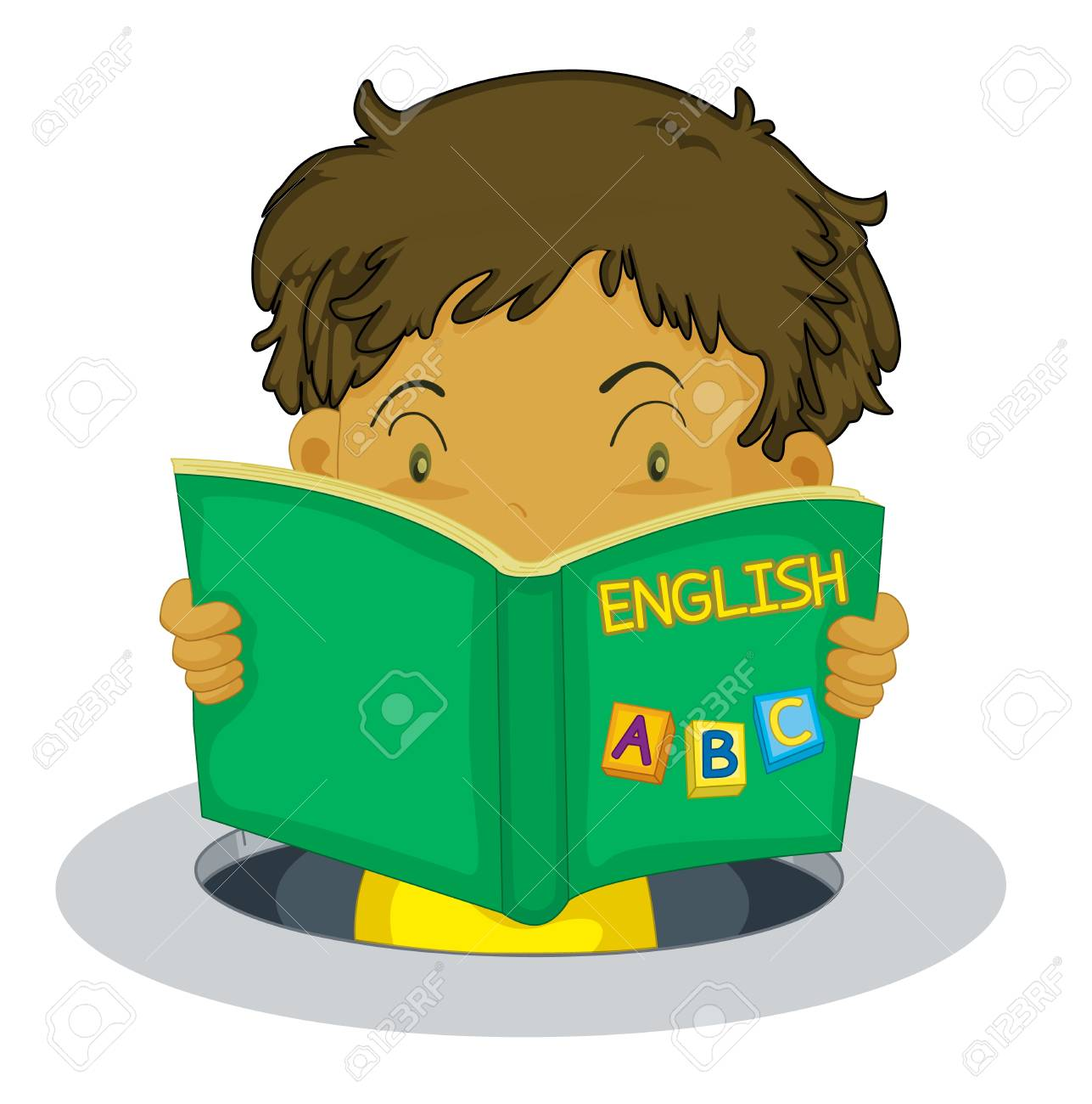 1287x1300 Young Boy Reading An English Book Royalty Free Cliparts, Vectors