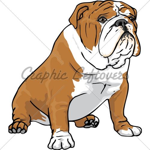 Bulldog sitting. English clipart free download