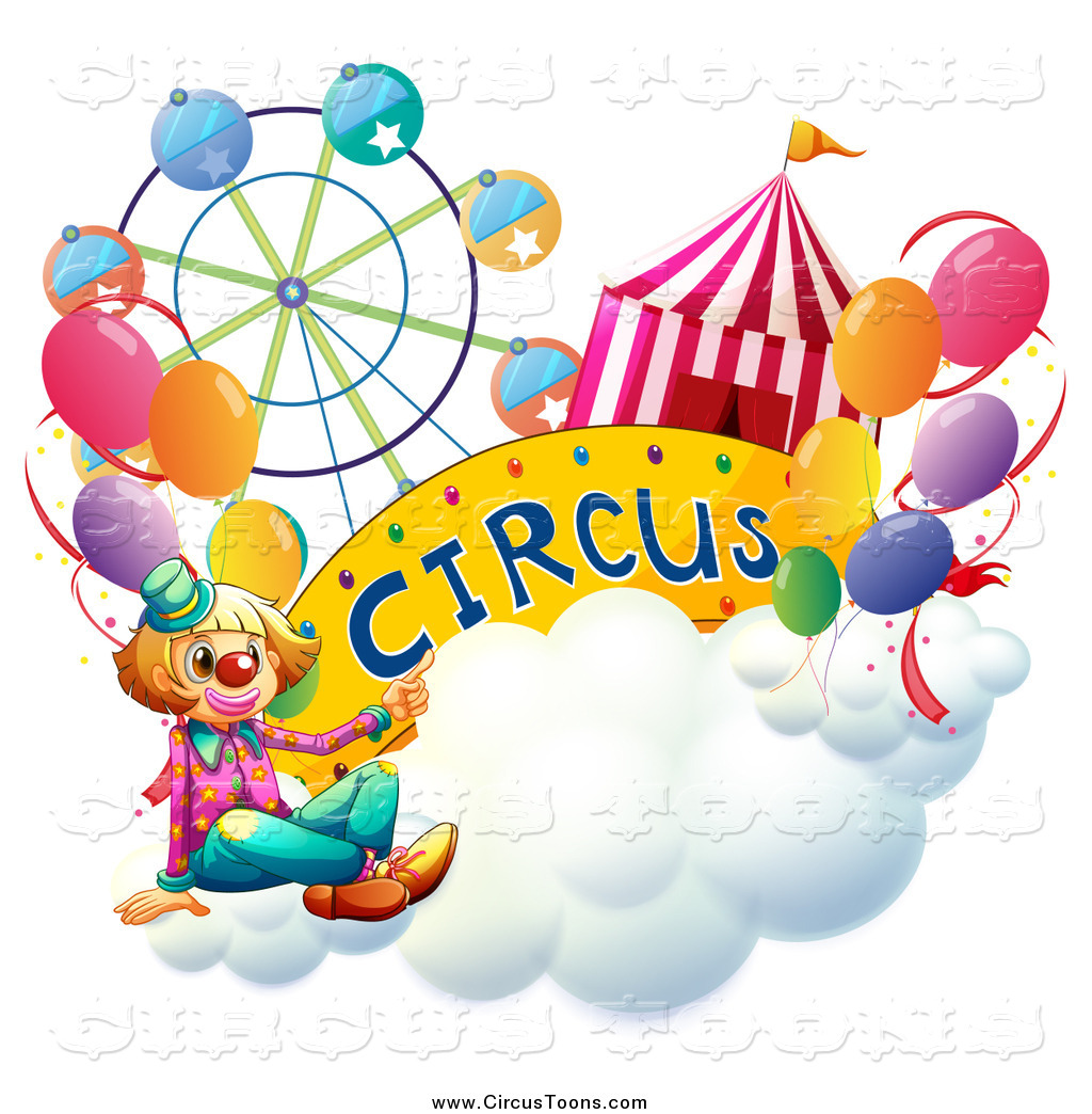 1024x1044 Circus Clipart Of A Clown And Entertainment Items On A Cloud By