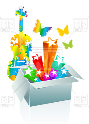 289x400 Entertainment Conception With Open Gift Box Royalty Free Vector