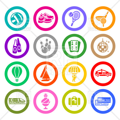 400x400 Sport, Recreation And Entertainment Icons Set Royalty Free Vector