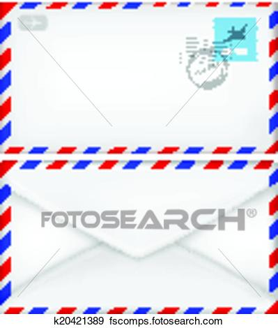 399x470 Clip Art Of Airmail Envelope With Stamps. K20421389