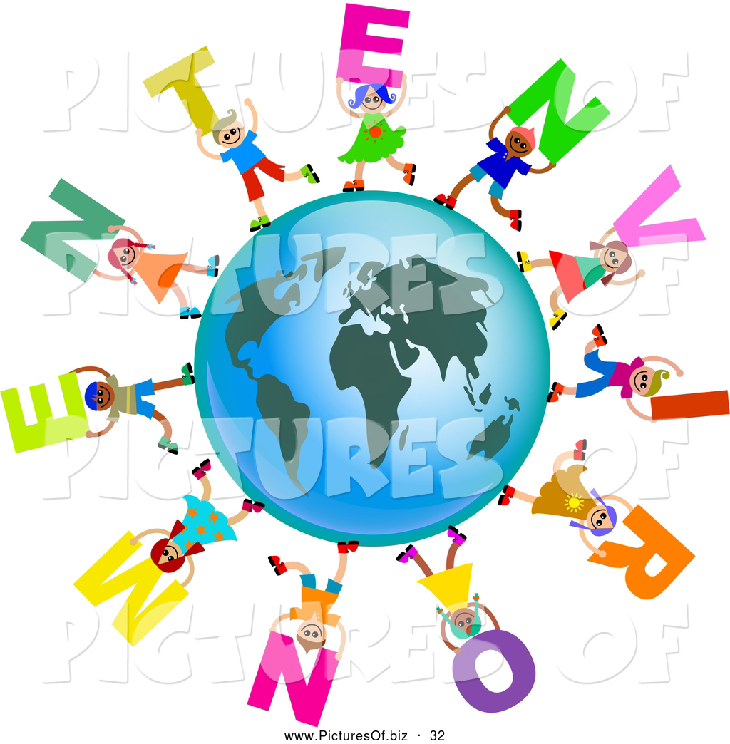 1024x1044 Clipart Of A Ring Of Global Kids Carrying Environment Text Around