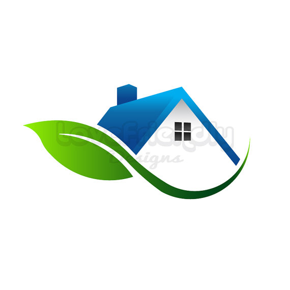 570x570 House With Leaf Logo Clip Art. Concept For An Environment Friendly