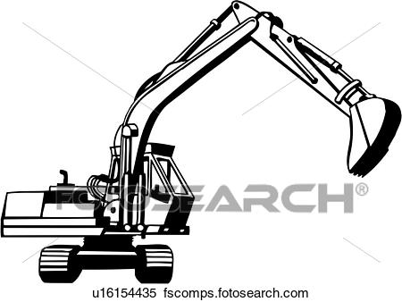 450x338 Clipart Of , Trade, Construction, Excavator, Heavy Equipment