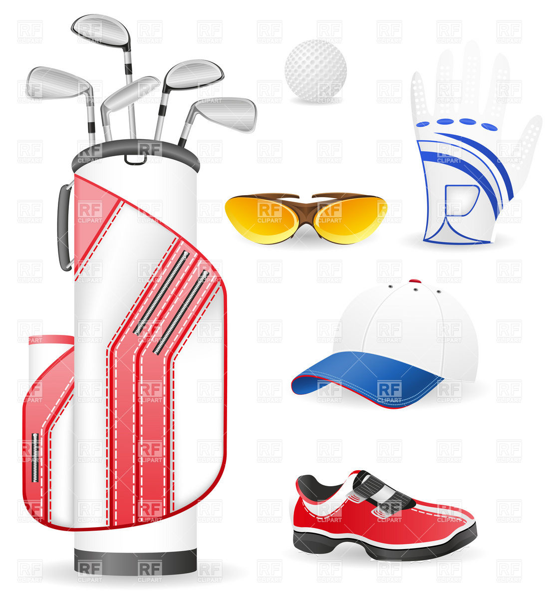 1110x1200 Equipment And Clothing For Golf Royalty Free Vector Clip Art Image