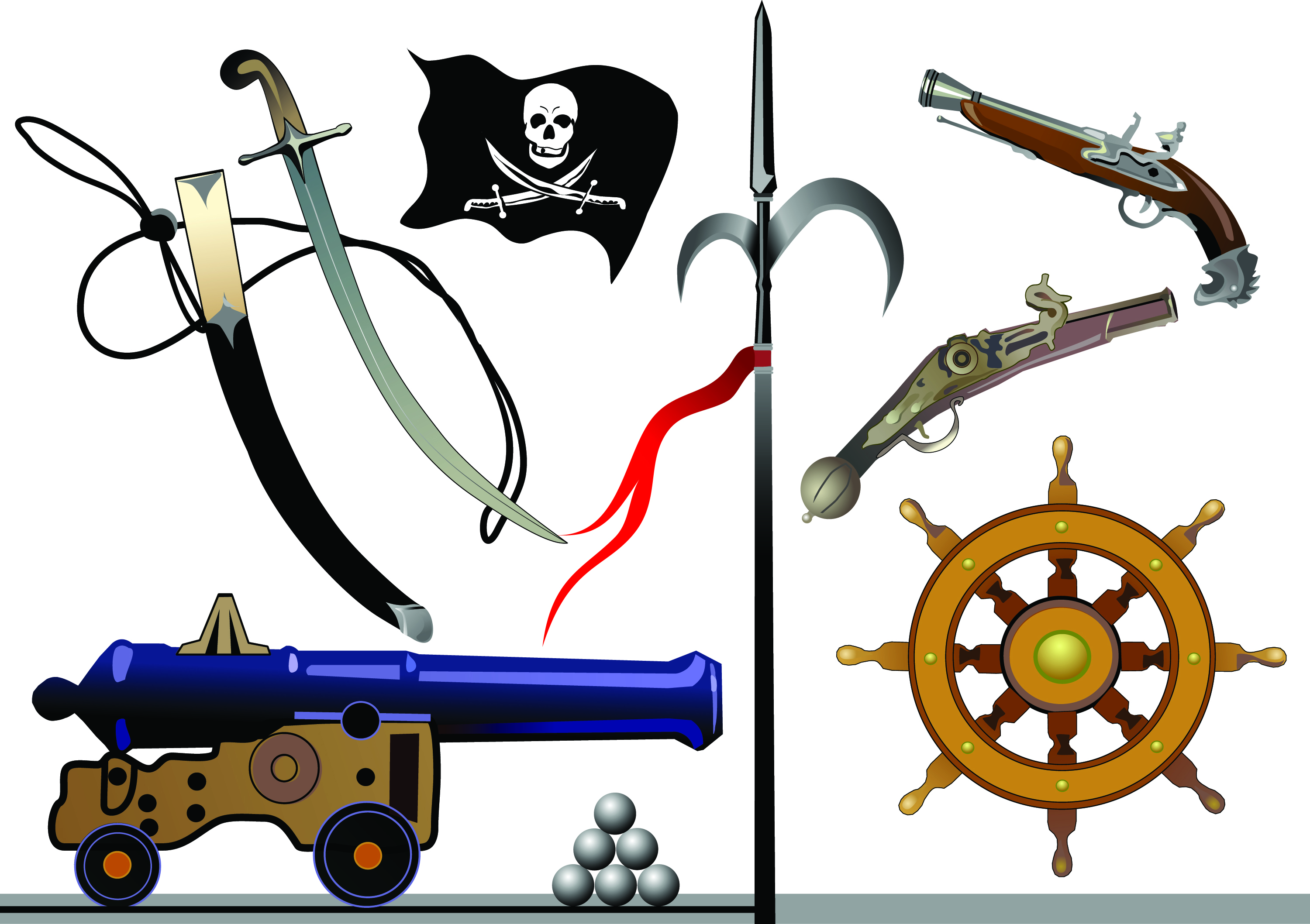 3000x2117 Pirates Clip Art Equipment And Supplies Free Vector 4vector