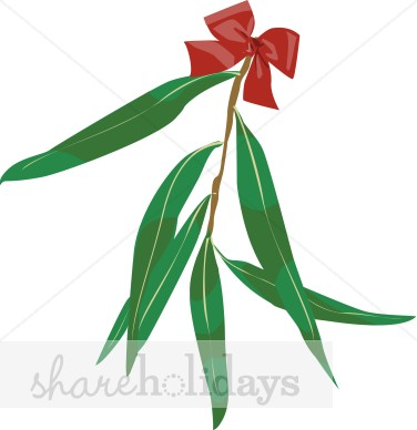 376x388 Eucalyptus Leaves With Red Bow Clipart Christmas Decoration Clipart
