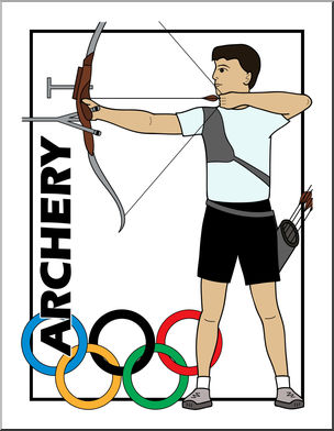 304x392 Clip Art Summer Olympics Event Illustrations Archery Color I