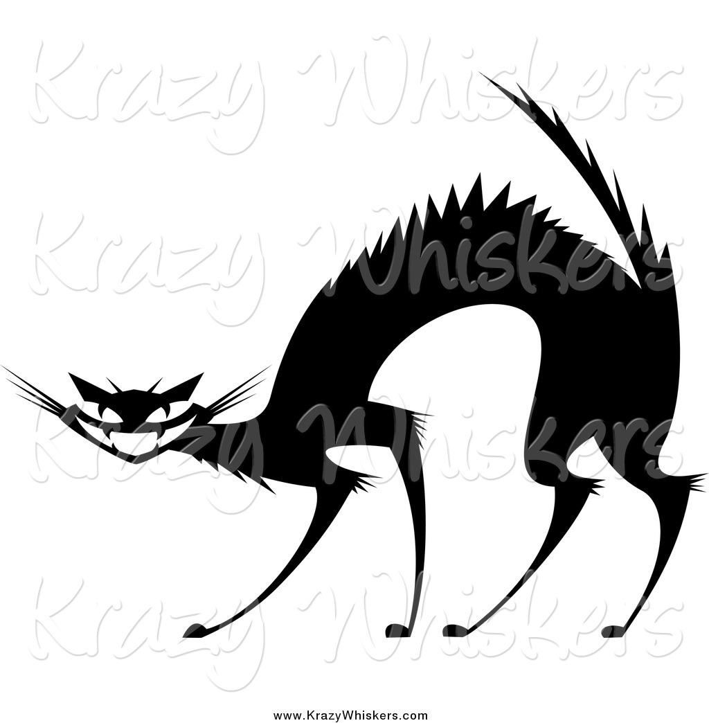 1024x1044 Critter Clipart Of A Black And White Evil Cat With An Arched Back