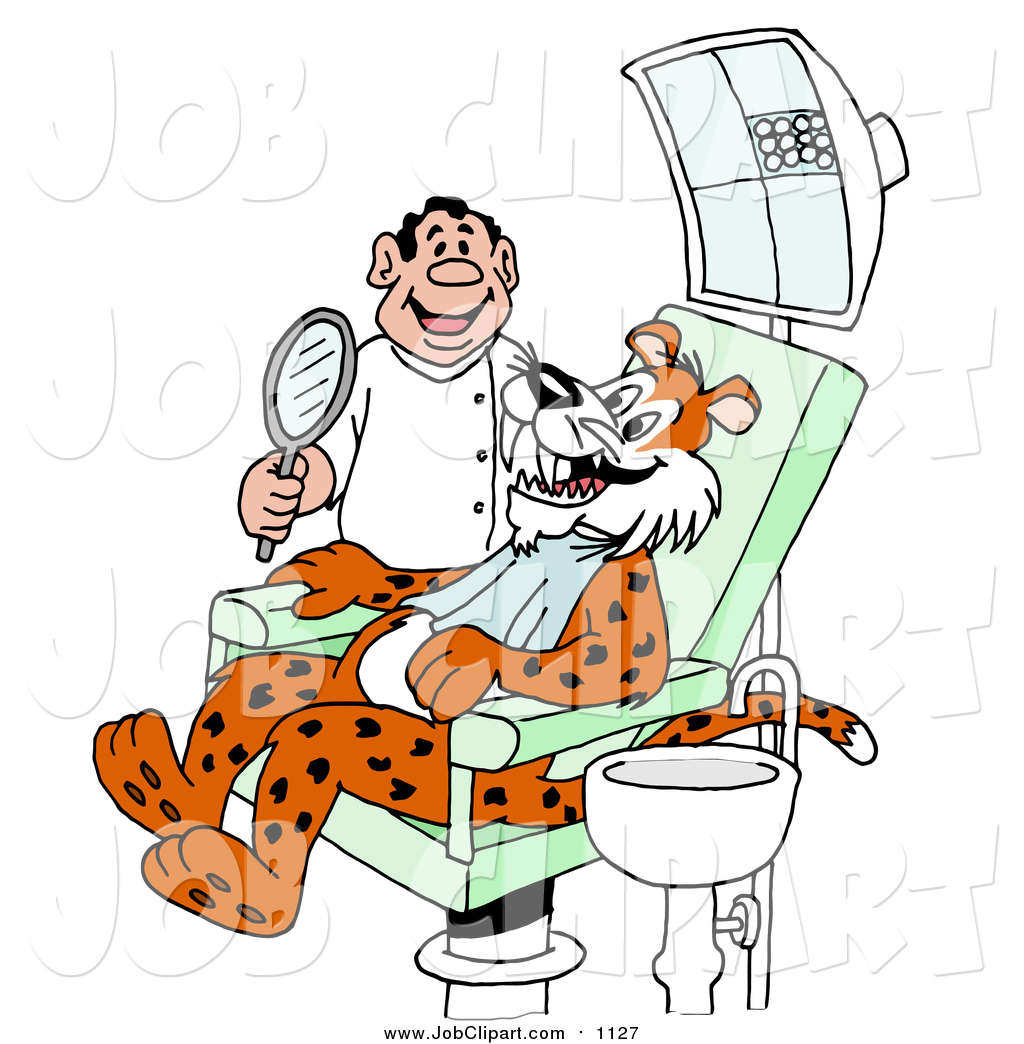 1024x1044 Job Clip Art Of A Cartoon Leopard Smiling And Showing His Fangs