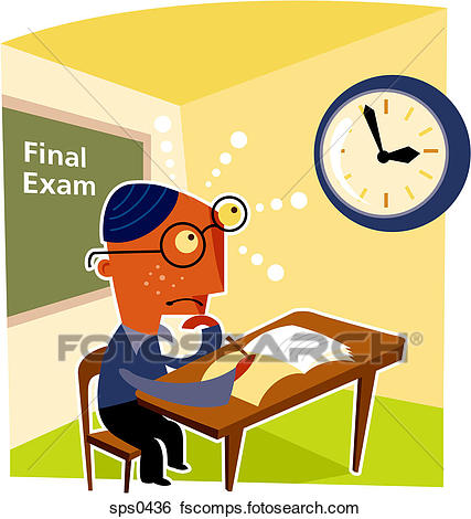 427x470 Stock Illustration Of A Bespectacled Boy Taking A Final Exam