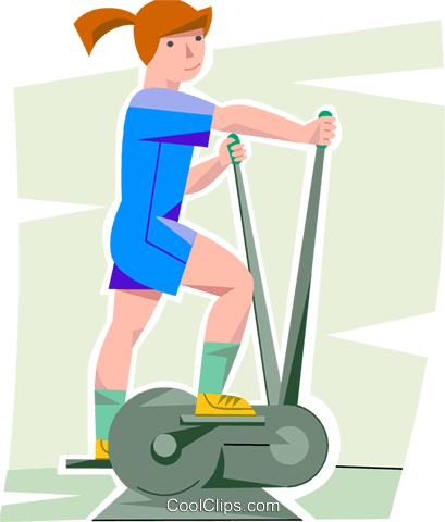 409x480 Girl Working Out On A Elliptical Trainer Royalty Free Vector Clip